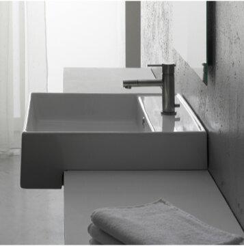 Teorema Ceramic Square Vessel Bathroom Sink with Overflow