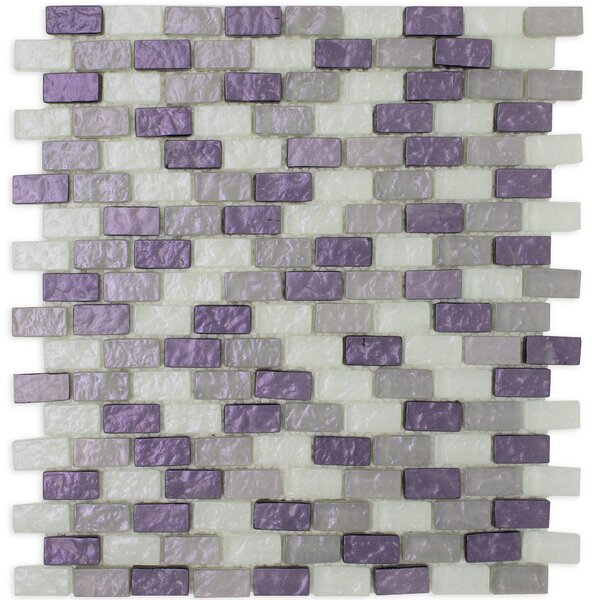 Brick Shell Effect 0.62 x 1.25 Glass Mosaic Tile in Purple/Gray by Multile