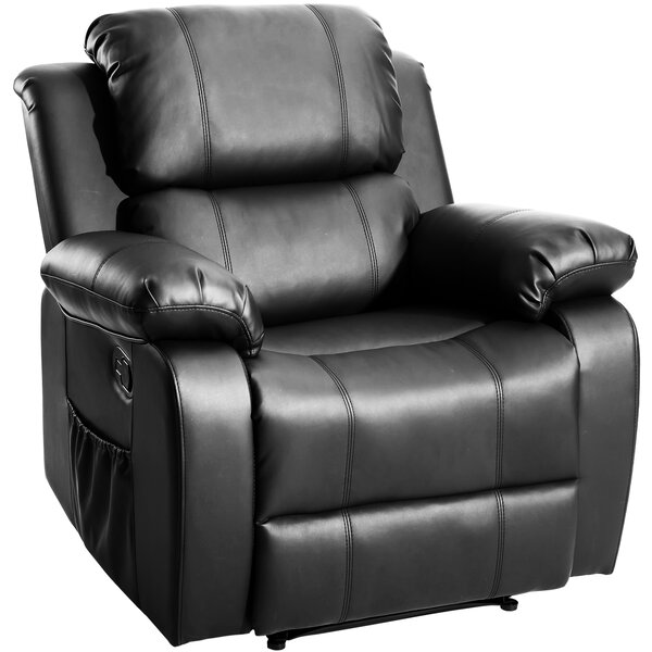 Goffee Faux Leather Manual Recliner with Massage W000198934