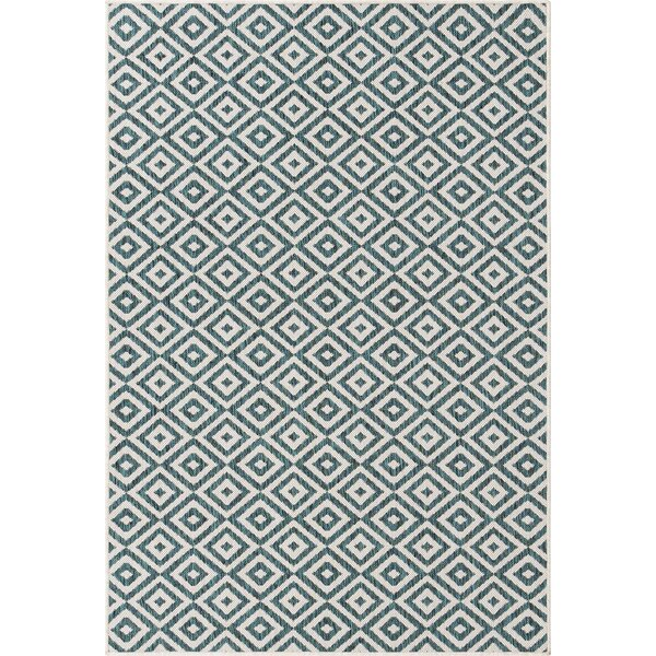 Rufina Geometric Teal Indoor/Outdoor Area Rug