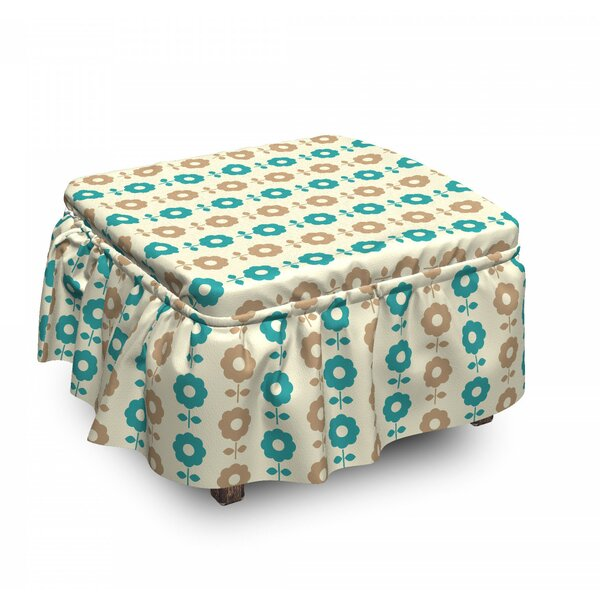 Daisies Ottoman Slipcover (Set Of 2) By East Urban Home