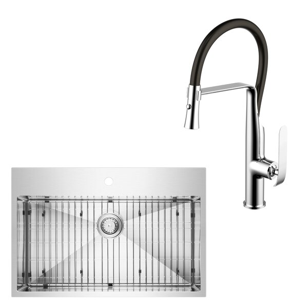 All-in-One Top Mount Stainless Steel 33 L x 22 W Drop-In Kitchen Sink with Faucet by dCOR design