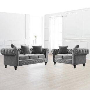 Chamblee 2 Piece Velvet Living Room Set by Canora Grey