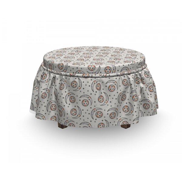 Astrology Celestial Boho Plant 2 Piece Box Cushion Ottoman Slipcover Set By East Urban Home