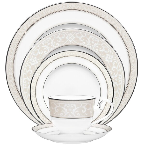 Montvale Platinum Bone China 5 Piece Place Setting, Service for 1 by Noritake