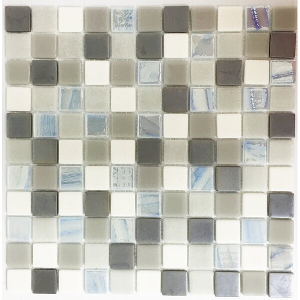 Signature Line 1 x 1 Glass Mosaic Tile in Brown by Susan Jablon