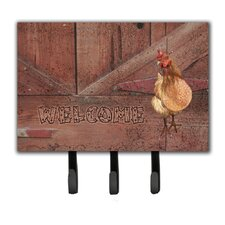 Welcome Chicken Leash Holder and Key Hook by Caroline's Treasures