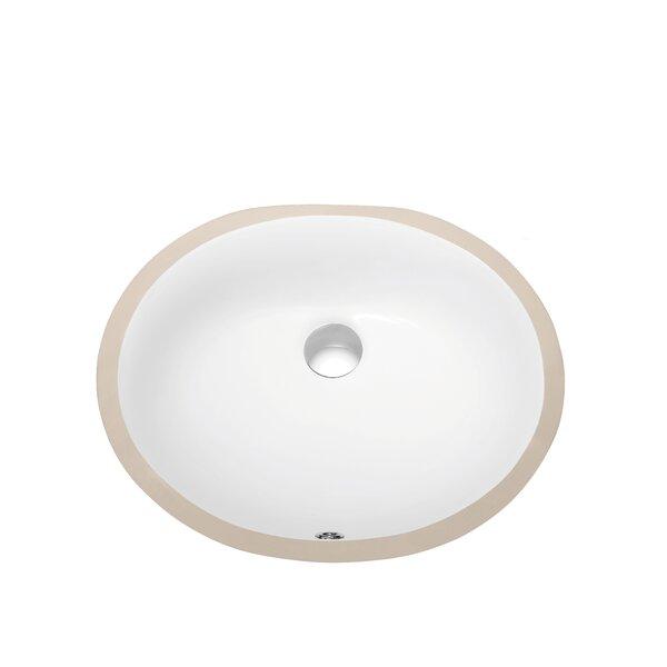 Ceramic Oval Undermount Bathroom Sink with Overflow by Dawn USA