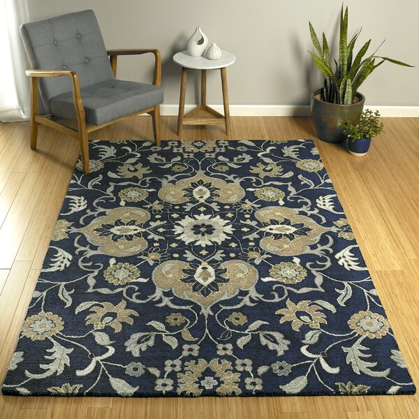 Elkmont Hand-Tufted Navy/Gray Indoor/Outdoor Area Rug by Charlton Home