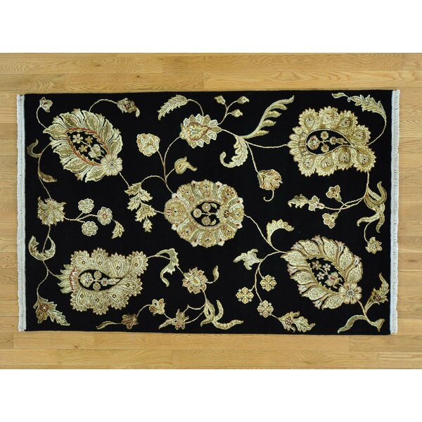 One-of-a-Kind Bear Hand-Knotted Black Wool/Silk Area Rug by Isabelline