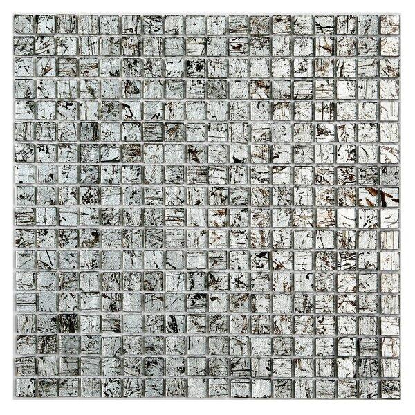 Micro Folia 0.56 x 0.56 Glass Mosaic Tile in Winter Birch Silver by Solistone