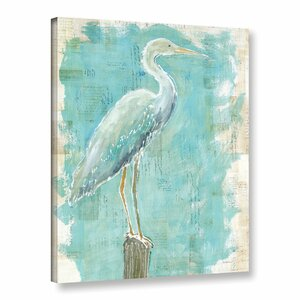 'Coastal Egret I V2' Painting Print on Wrapped Canvas by Highland Dunes