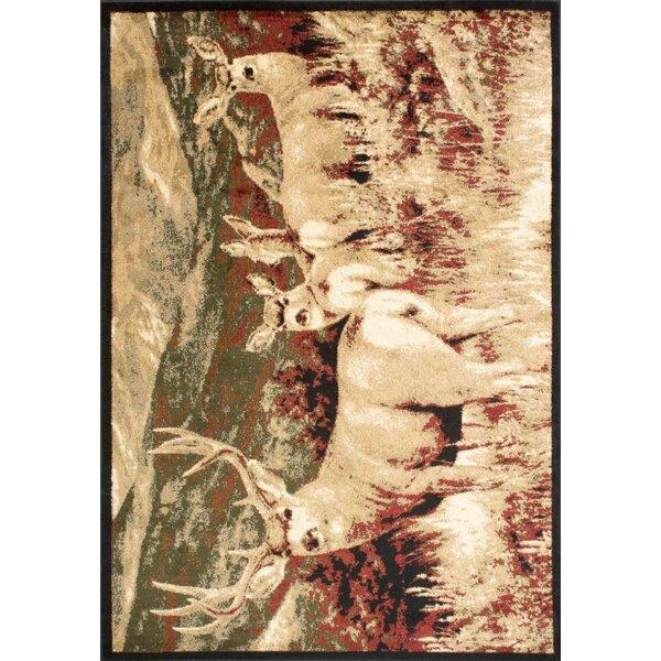 Adak Meadown Deer Brown/Ivory Area Rug by Loon Peak