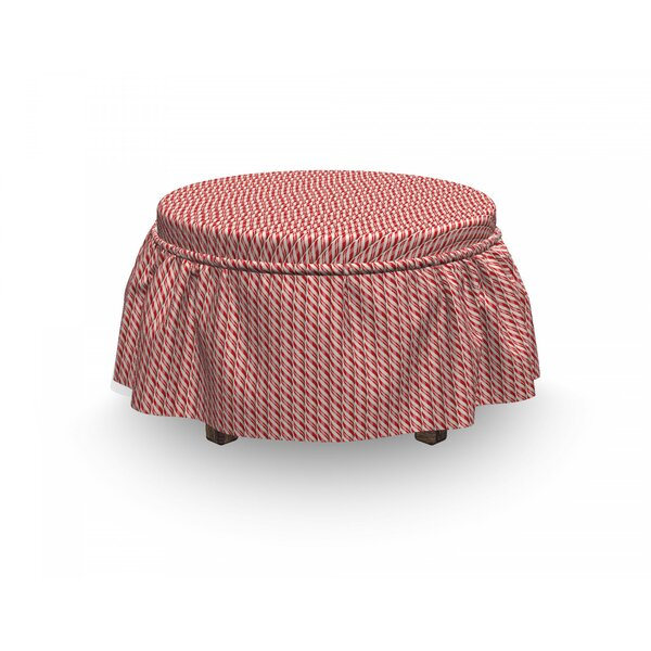 Candy Cane Christmas Sweets 2 Piece Box Cushion Ottoman Slipcover Set By East Urban Home