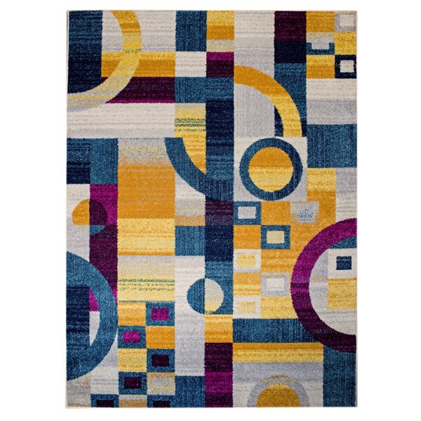 Merissa Modern Retro Gray/Blue Area Rug by Ebern Designs