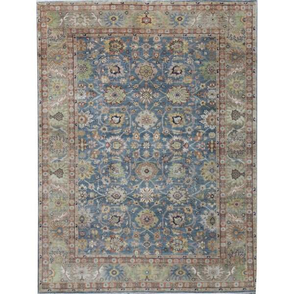 Oriental Hand-Knotted Wool Blue/Beige Area Rug
