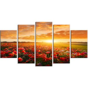 'Beautiful Poppy Field at Sunset' Photographic Print Multi-Piece Image on Canvas by Design Art