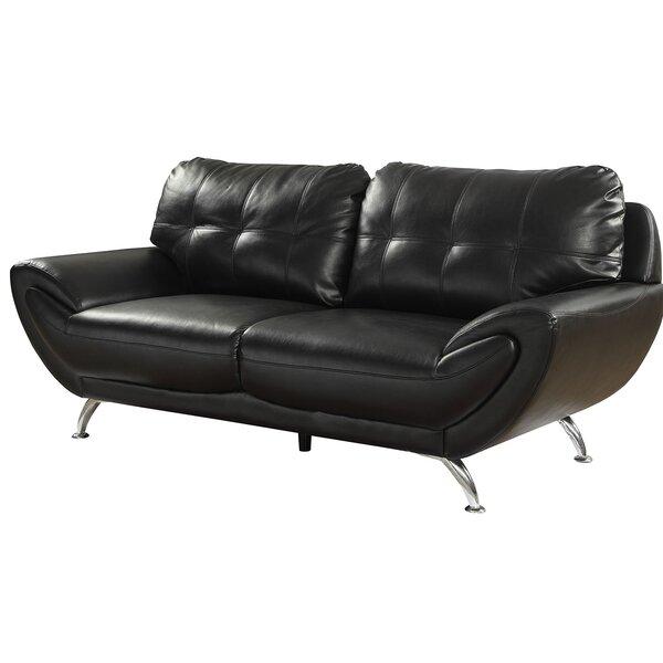 Shameka Contemporary Leatherette Sofa by Ebern Designs