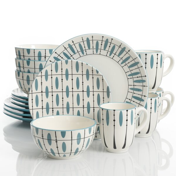 Casias Hand Painted Durastone 16 Piece Dinnerware Set, Service for 4 by Winston Porter