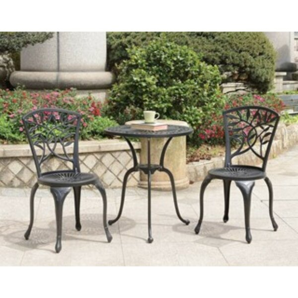 New Braunfels 3 Piece Bistro Set With Cushions By Charlton Home