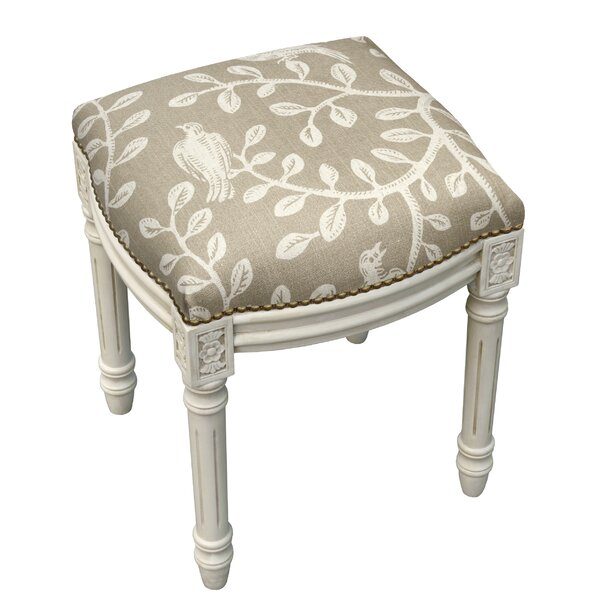 Birds and Vines Linen Upholstered Vanity Stool by 123 Creations