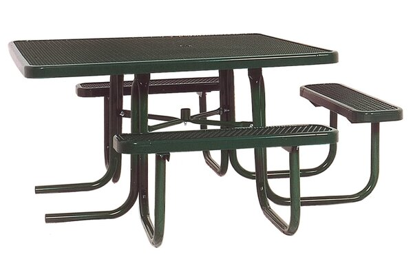3-Seat ADA Square Picnic Table with Perforated Pattern by Ultra Play