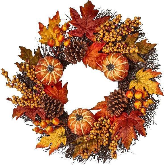 Pumpkin Cone Berry Leaf 10 Wreath by Charlton Home