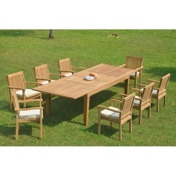 Ramsel 9 Piece Teak Dining Set by Rosecliff Heights
