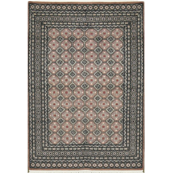One-of-a-Kind Gabbeh Border Hand-Knotted Wool Gray/Ivory Area Rug by Bokara Rug Co., Inc.