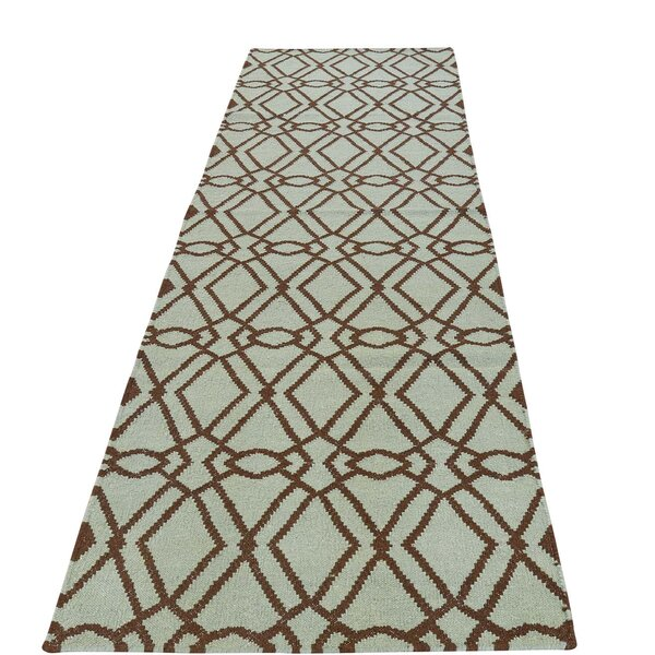 Reversible Mint Durie Kilim Hand-Knotted Green Area Rug by House of Hampton