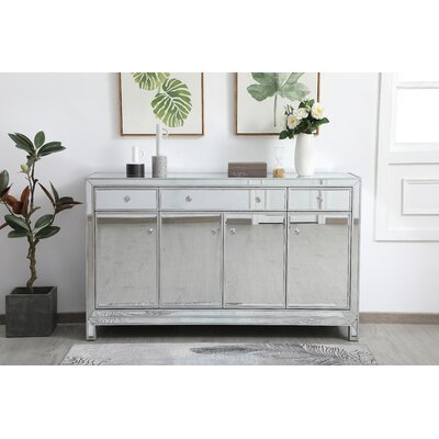 """Everly Quinn Rosenbloom 60"""" Wide 3 Drawer Credenza  Color: Silver"""