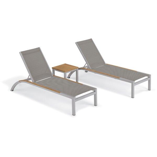 Saleem Reclining Chaise Lounge Set with Table by Brayden Studio Brayden Studio
