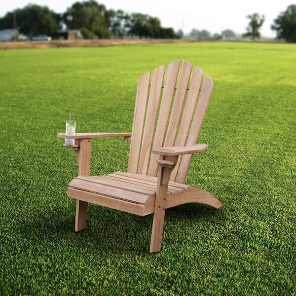 Cynthia Teak Oversized Adirondack Chair with Cup Holder by Bayou Breeze Bayou Breeze
