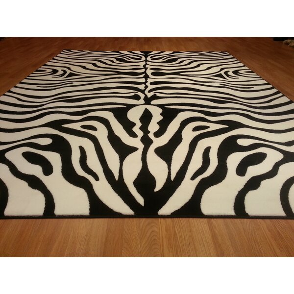 Hand-Carved Black/White Area Rug by Rug Tycoon