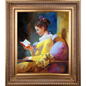 'A Young Girl Reading' by Jean-Honoré Fragonard Framed Painting Print by Tori Home