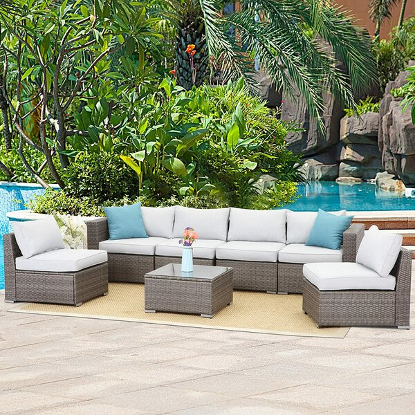 Adriti Outdoor 7 Piece Rattan Sectional Seating Group wwith Cushions by Latitude Run