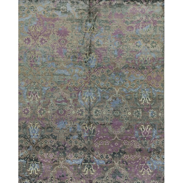 Floral Hand-Knotted Wool Purple/Red Area Rug