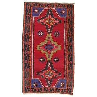 Compare Russian Kazak Lambswool Hand-Knotted Red/Black Area Rug ByPasargad NY