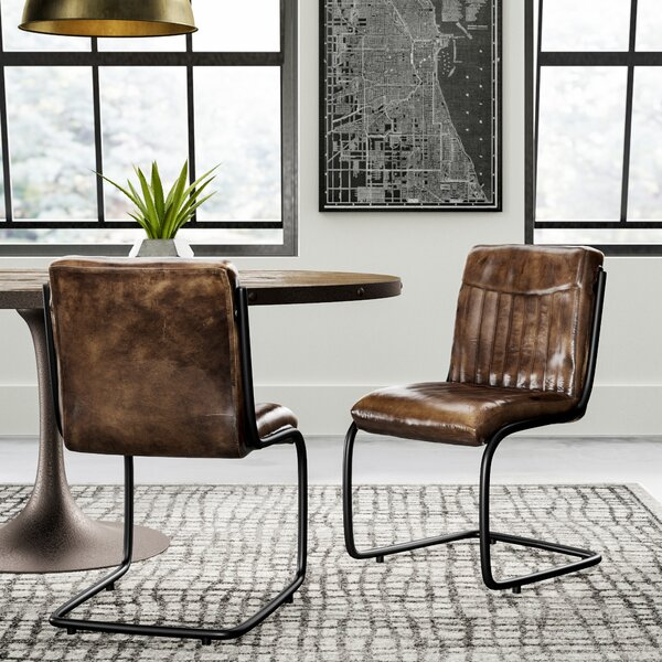 Toombs Genuine Leather Upholstered Dining Chair Set (Set of 2) by Greyleigh