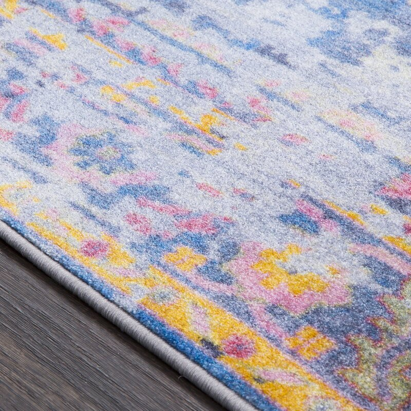 Bungalow rose wyclif traditional overdyed bright blue for Bright blue area rug
