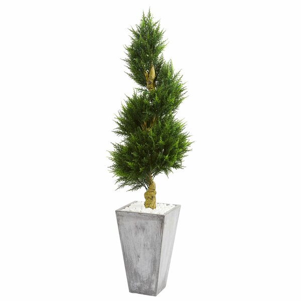 Spiral Artificial Floor Cypress Tree in Planter by 17 Stories