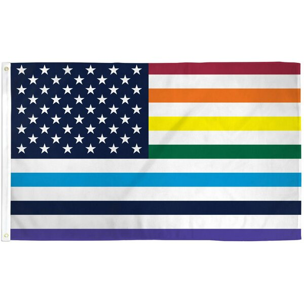American Rainbow Old Glory Pride Polyester 3 x 5 ft. Poly House Flag by NeoPlex
