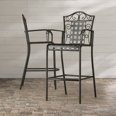 Abbottsmoor Patio Bar Stool Finish: Black by Darby Home Co