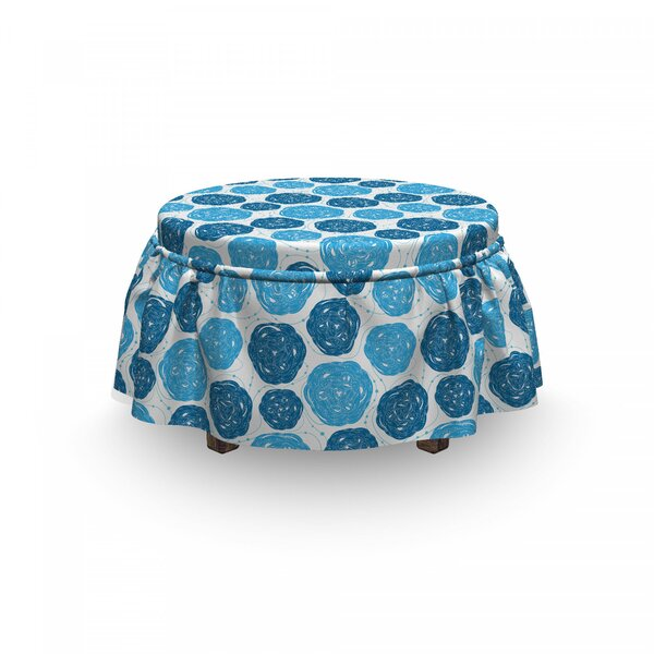 Shapes With Stripes Dots Ottoman Slipcover (Set Of 2) By East Urban Home
