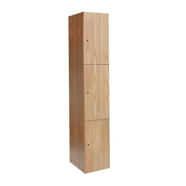 All-Wood Club 3 Tier 1 Wide Employee Locker by Hallowell