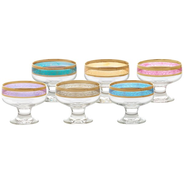 Melania 8 oz. Pedastal Dessert Bowl (Set of 6) by
