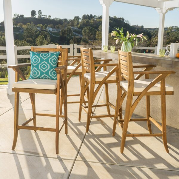 Docklands 29 Patio Bar Stool with Cushion (Set of 4) by Beachcrest Home