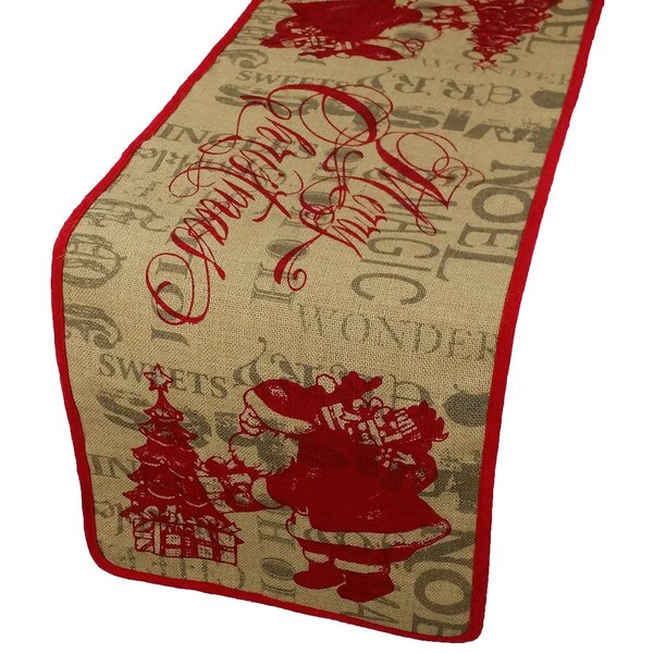 Saint Nick Christmas on Printed Burlap Table Runner by Xia Home Fashions