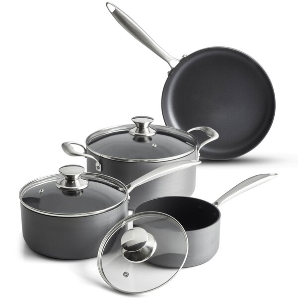 7 Piece Hard Anodized Nonstick Stainless Steel Cookware Set by VonShef