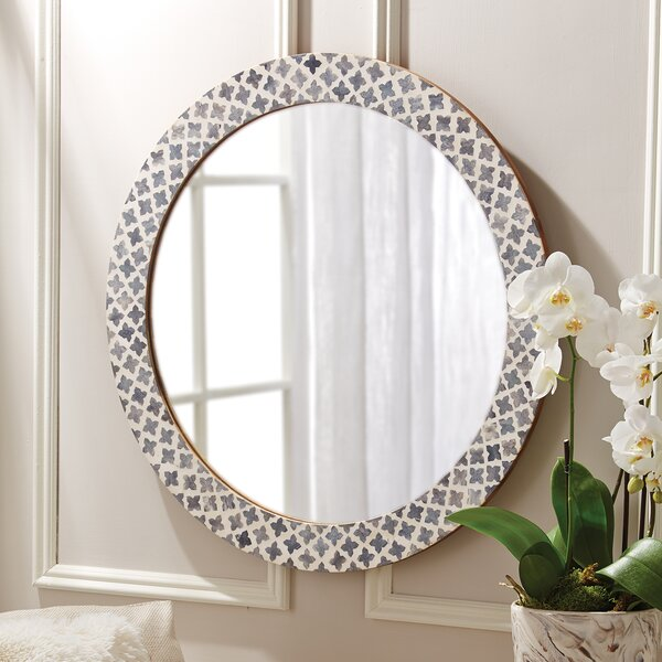 Quatrefoil Round White/Gray Wall Mirror by Darby Home Co